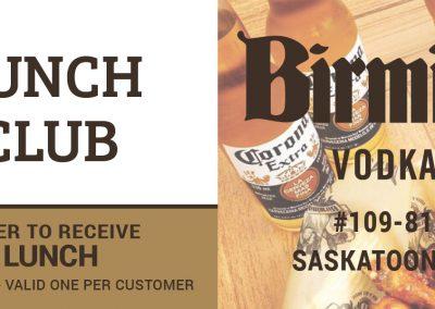 Birmingham's Vodka & Ale House - Lunch Club Business Cards