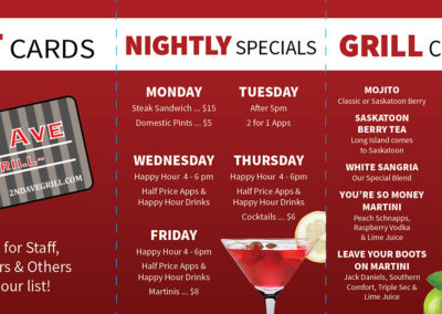 2nd Ave Grill - Tent Cards