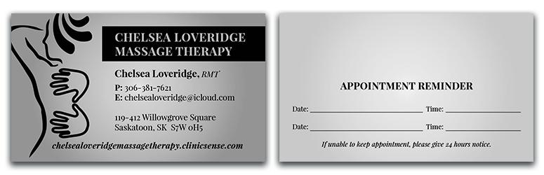 Chelsea Loveridge Massage - Business Cards